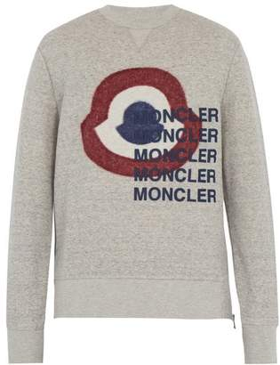 Moncler Logo Print Cotton Blend Sweatshirt - Mens - Grey