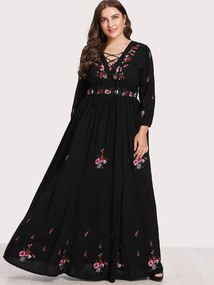 Shein Plus Lace Up Front Flower Embroidered Maxi Dress