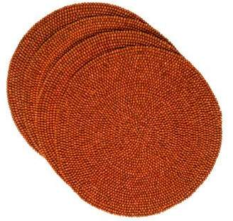 Kim Seybert Set of 4 Round Wood Bead Placemats