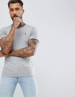 Religion t-shirt with rolled sleeve in gray marl