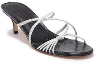 Sigerson Morrison Fyona Snake Print Embossed Leather Kitten Heel Sandal