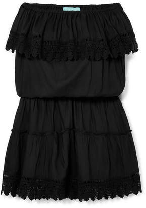 Melissa Odabash Joy Crochet-trimmed Voile Mini Dress - Black