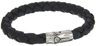 John Hardy Bamboo 8mm Station Bracelet in Black Leather Bracelet