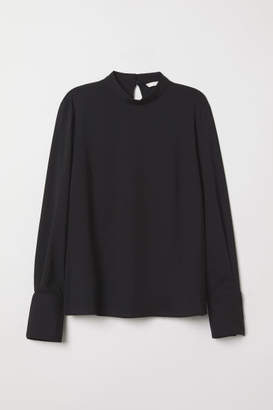 H&M Blouse with Stand-up Collar - Black