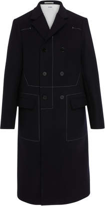 Jil Sander Contrast Stitching Double Breasted Wool Coat