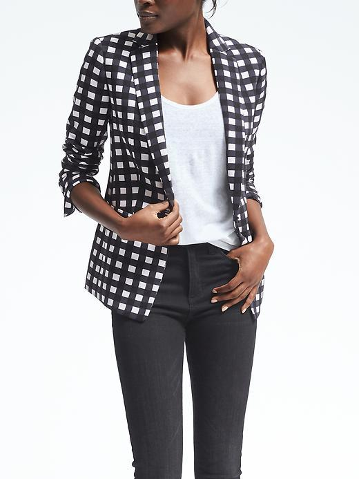 Gingham One-Button Blazer