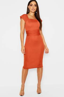 boohoo Cap Sleeve Tie Back Midi Dress