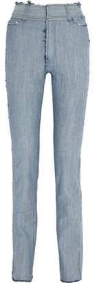 Norma Kamali Frayed High-Rise Slim-Leg Jeans