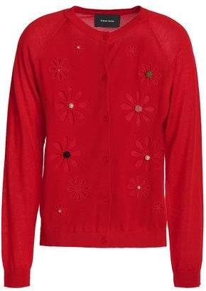 Simone Rocha Embellished Cutout Merino Wool Silk And Cashmere-Blend Cardigan