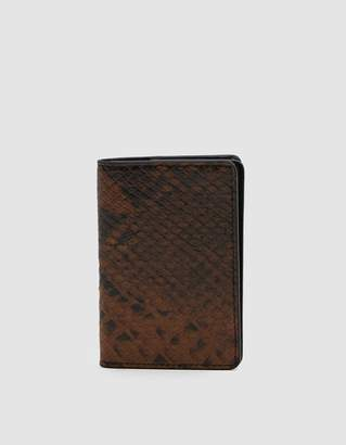 Dries Van Noten Snake-Effect Cardholder Wallet in Brown