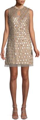 Aidan Mattox Embellished Sleeveless Keyhole Mini Dress