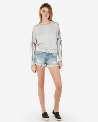 Express Low Rise Light Wash Distressed Denim Shorts