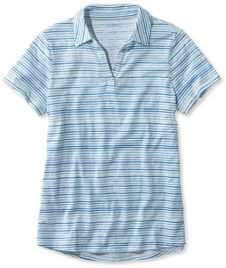 L.L. Bean L.L.Bean Organic Cotton Tee, Short-Sleeve Splitneck Polo Stripe