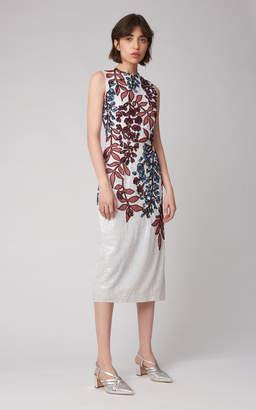 Carolina Herrera Floral Sequin Embellished Silk Sheath Dress
