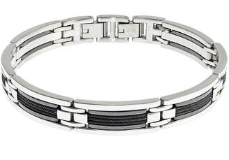 FINE JEWELRY Mens Stainless Steel Chain and Ceramic Link Bracelet