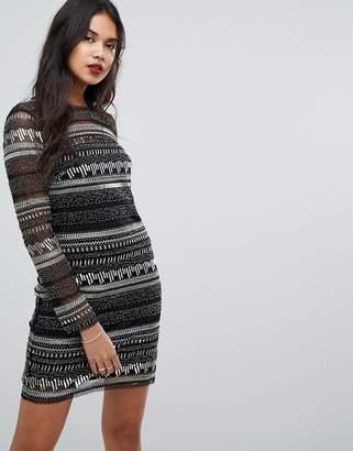 Forever New Sequin Striped Midi Dress