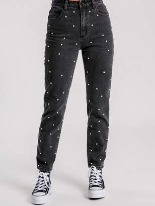 Abrand '94 High Slim Jeans in Stud Lover Black Denim