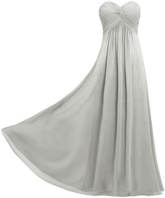 ANTS Women's Pleat Chiffon Strapless Bridesmaid Dresses Long Gowns Size US