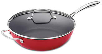 Cuisinart Cast Iron Lite Cookware 4.5 Qt. Chefs Pan with Helper and Cover in Red
