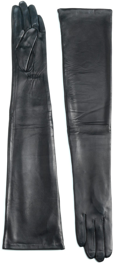 CAROLINA AMATO Leather Opera-Length Gloves