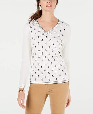 Tommy Hilfiger Cotton Anchor-Front V-Neck Sweater