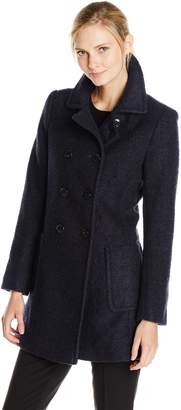 T Tahari Women's Double Breasted Wool Boucle Coat