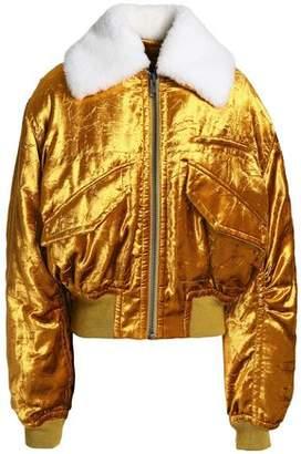 Haider Ackermann Faux Fur-Trimmed Velvet Bomber Jacket