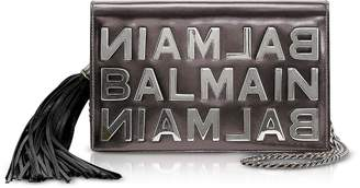 Balmain Gunmetal Mirrored Leather Signature Clutch