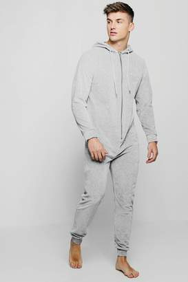 boohoo Velour Hooded Onesie With MAN Embroidery
