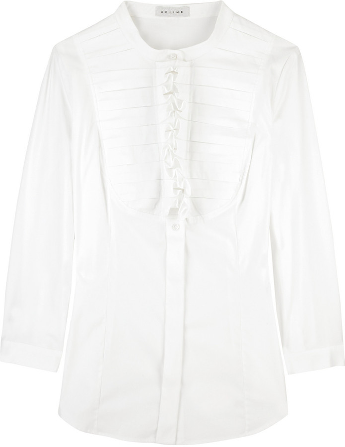 Celine Ruffle-front shirt