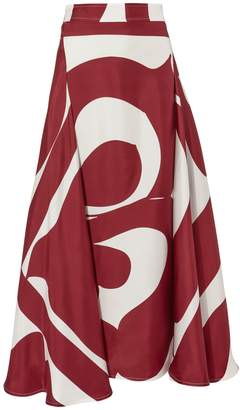 Victoria Beckham Silk Printed Side Drape Skirt