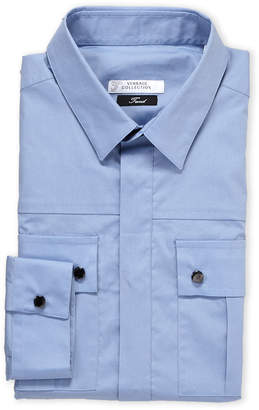 Versace Blue Hardware Epaulet Military Shirt