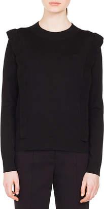 Akris Punto Round-Neck Ruffle Detail Pullover Wool Knit Sweater