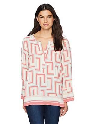 Chaus Women's Long Sleeve Split Neck Graphic Maze Blouse