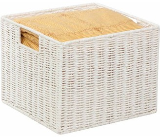 Honey-Can-Do Parchment Cord Basket with Wire Frame and Handles, White