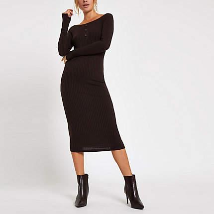 Womens Chocolate scoop neck bodycon midi dress