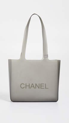 Chanel What Goes Around Comes Around Grey Rubber Tote