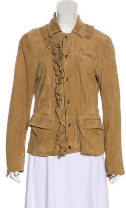 RED Valentino Suede Ruffle-Trimmed Jacket