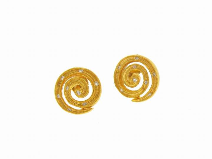 Cathy Waterman Fairy Light Swirl Posts in 22 Karat Gold with Diamonds