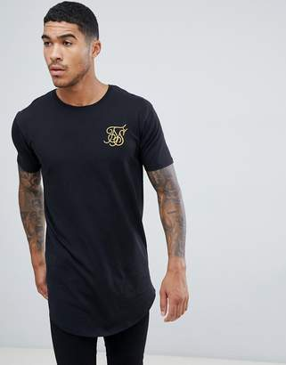 SikSilk curved hem t-shirt in black