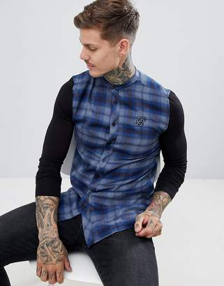 SikSilk grandad collar check shirt in blue with jersey sleeves