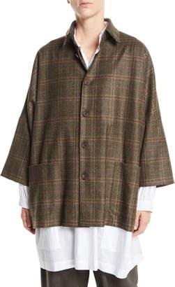 eskandar Dropped-Shoulder Button-Front Plaid Wool Jacket