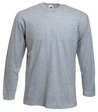 Fruit of the Loom Men's Long Sleeve T-Shirt - 36/38 Heather Grey