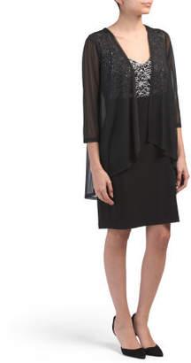 Petite Sleeveless Dress With Sheer Overlay
