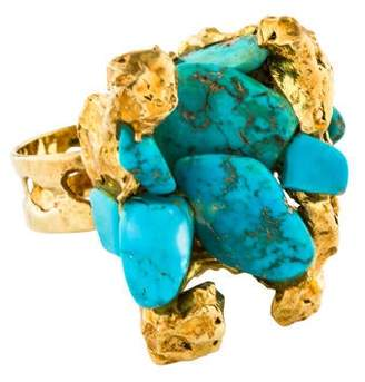Ring 18K Freeform Turquoise Cocktail