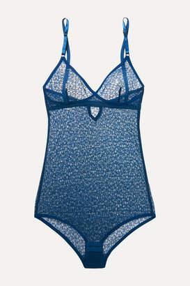 YASMINE ESLAMI Lily Stretch-lace Bodysuit - Navy