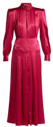 Alessandra Rich Pleated Panelled Silk Satin Dress - Womens - Pink