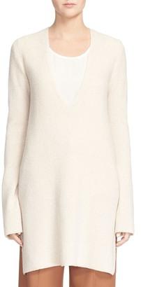 Helmut Lang Long V-Neck Wool & Cashmere Sweater $435 thestylecure.com