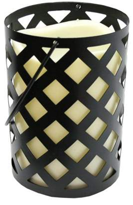 """Gerson 7"""" Black Metal Criss Cross Lantern with Bisque LED Lighted Flameless Indoor/Outdoor Pillar Candle"""