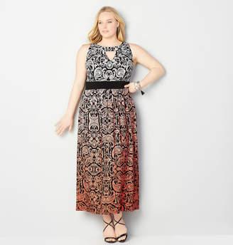 Avenue Two Tone Keyhole Maxi Dress